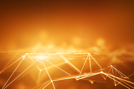 Abstract connected points forming polygonal pyramids on bright orange background. Technology concept. 3D Rendering Stock Photo
