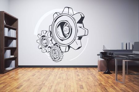 clean floor: Clean office interior with furniture, wooden floor and cogwheel sketch on concrete wall. Teamwork concept, 3D Rendering