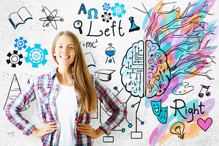 artwork: Cheerful european girl on concrete background with mathematical formulas and colorful sketch. Creative and analytical thinking concept