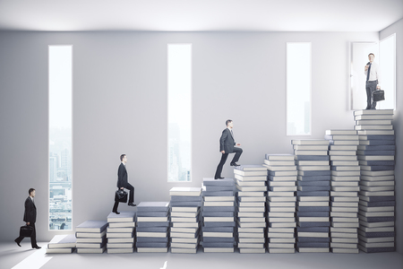 book concept: Side view of several businessmen climbing abstract book staircase in concrete interior with city view and sunlight. Education concept. 3D Rendering