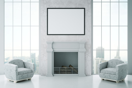 fireplace living room: Front view of luxurious interior with blank picture frame, fireplace, two armchairs and city view. Mock up, 3D Rendering