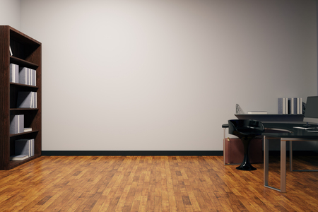 clean floor: Clean office interior with furniture, wooden floor and blank concrete wall. Mock up, 3D Rendering