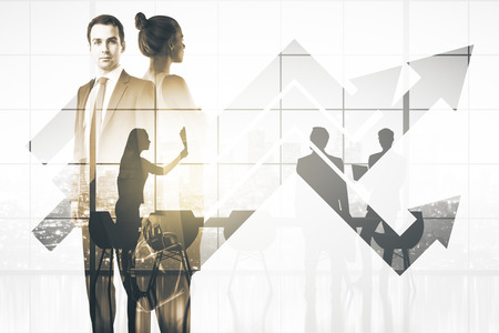 Thoughtful businessman and woman on abstract city and office with upward arrows background. Finance concept