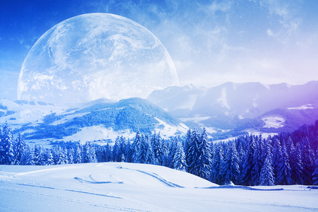 Beautiful snowy hills, trees and huge moon. Wallpaperbackdropbackground. 3D Rendering Stock Photo