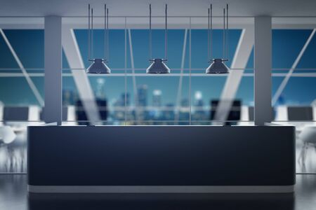 ceiling: Black reception desk in contemporary interior with night city view. Office concept. 3D Rendering Stock Photo