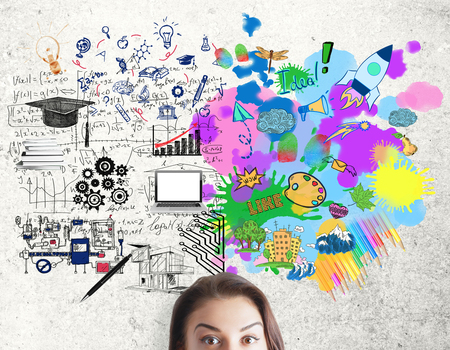 attractive woman: Creative and analytical thinking concept. Portrait of attractive young woman on concrete background with mathematical formulas and colorful sketch Stock Photo