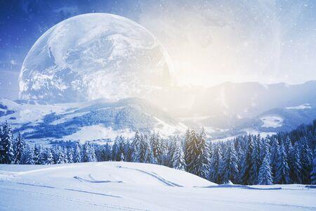 Beautiful winter landscape and huge moon. Wallpaperbackdropbackground. 3D Rendering