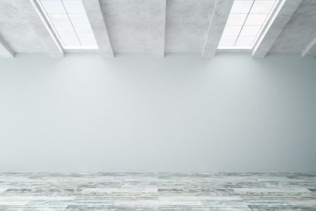 grey: Unfurnished interior with blank concrete wall, wooden floor and ceiling windows. Mock up, 3D Rendering Stock Photo