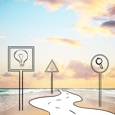 ocea: Abstract image of road signs and pathway in ocean. Sky with clouds background. Creative ideas and research concept
