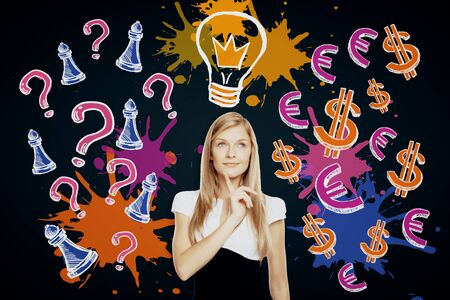 girl: Thoughtful young businesswoman on dark background with drawn light bulb, question marks and chess figures. Idea concept