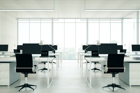 city light: Light coworking office interior with city view. 3D Rendering Stock Photo