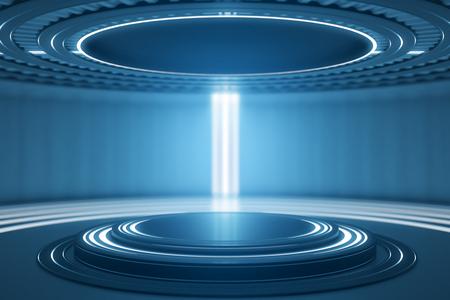 Futuristisch teleportstation in blauw binnenland. 3D-weergave