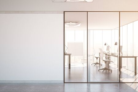 Contemporary simple office interior with glass doors, blank wall with copy space, city view and daylight. Toned image. Mock up, 3D Rendering Banco de Imagens