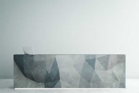 desk light: Abstract polygonal reception desk with laptop on empty light concrete bakcground. Mock up, 3D Rendering