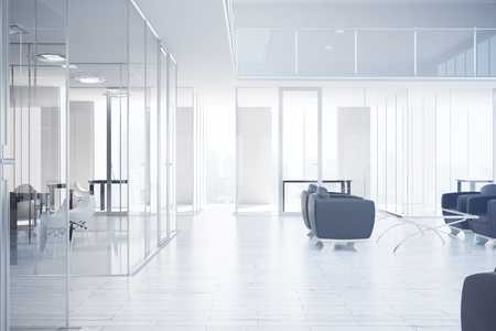 Modern office interior with workplace, waiting area, city view and daylight. 3D Rendering 免版税图像