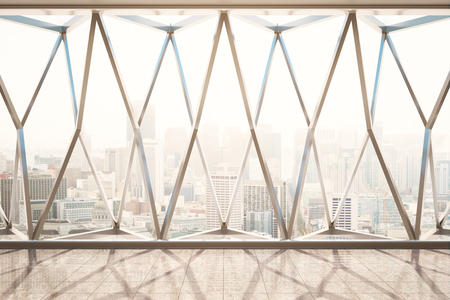 Front view of panoramic window with city view in interior with tile floor and reflections. Toned image. 3D Rendering