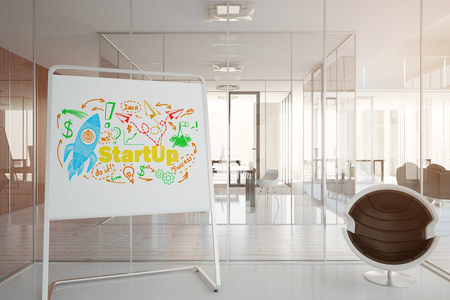 real: Close up of whiteboard stand with rocket sketch in modern office interior. Startup concept. Toned image. 3D Rendering