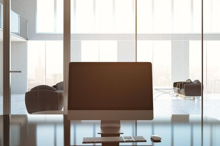 backlit keyboard: Front view of blank pc screen in modern business interior. Toned image. Mock up, 3D Rendering