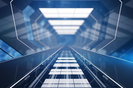 Blauwe futuristische tunnel interieur. 3D-rendering