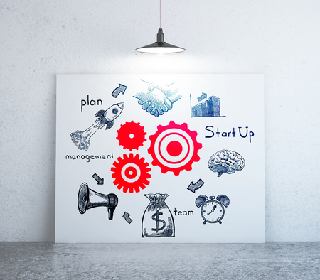 Interior with creative red cogwheel and pencil drawn business icons on whiteboard. Teamwork cocnept. 3D Rendering