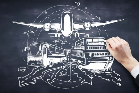 air: Hand drawing bus, ship and airplane on chalkboard background. Transportation concept Stock Photo