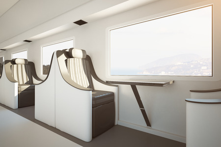 Side view of luxury train seats next to window with landscape view. Travel concept. 3D Rendering