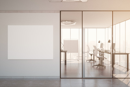 modern office interior: Modern office interior with equipment and blank poster. Filtered image. Mock up, 3D Rendering