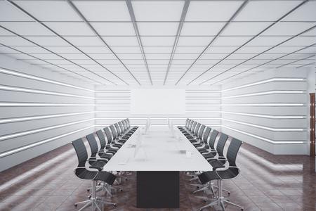 Moderne vergaderzaal interieur met apparatuur en lege poster. Presentatie concept. 3D-rendering