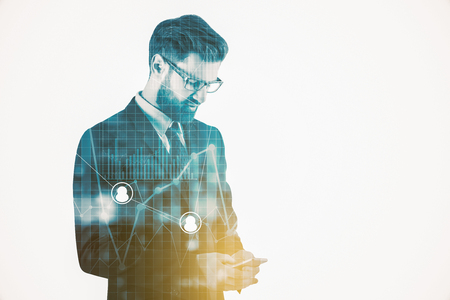 Thoughful businessman using smartphone on abstract city background with forex chart. Technology concept. Double exposure