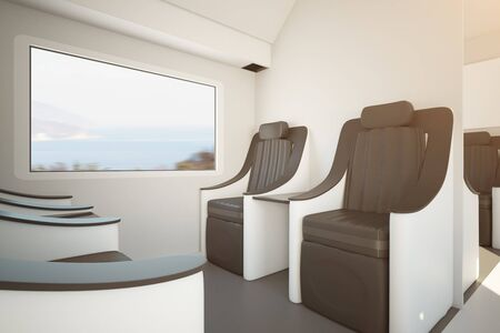 Side view of contemporary train seats next to window with landscape view. Travel concept. 3D Rendering Stock Photo