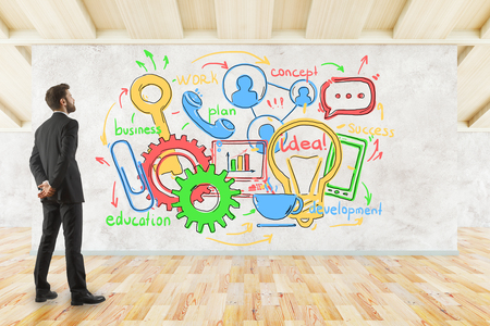 Young businessman in modern wooden interior looking at whiteboard with business sketch. Communication concept. 3D Rendering