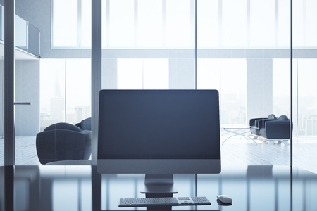 backlit keyboard: Front view of blank pc screen in modern business interior. Mock up, 3D Rendering Stock Photo