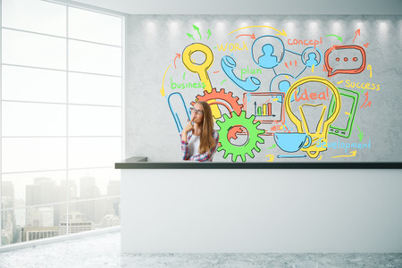 office desk: Thoughtful young woman art concrete reception desk with business sketch and city view. Success concept. 3D Rendering