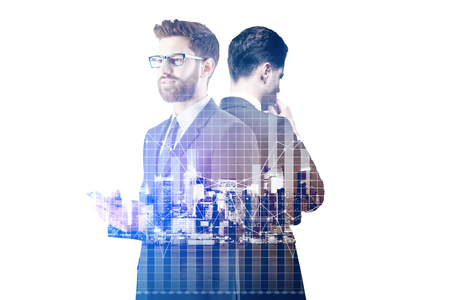 Thoughful businessmen using smartphone on abstract city background with forex chart. Fund management concept. Double exposure