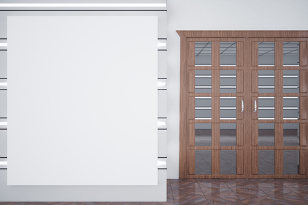 white wood floor: Blank white poster in interior with wooden doors. Mock up, 3D Rendering Stock Photo