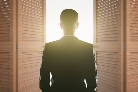 looking at view: Back view of young businessman looking at bright light shining from open brown doors. Success concept. 3D Rendering