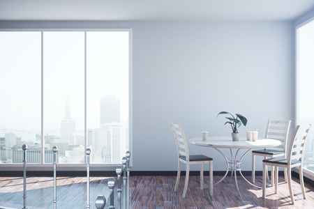 copyspace: Modern office interior with railing, dining area, sunlight, blank wall and city view. Mock up, 3D Rendering