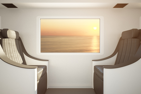 Side view of luxury train seats next to window with seat at sunset view. Traveling concept. 3D Rendering Stock Photo