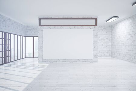 blank billboard: Front view of loft interior with blank billboard and city view. Mock up, 3D Rendering Stock Photo