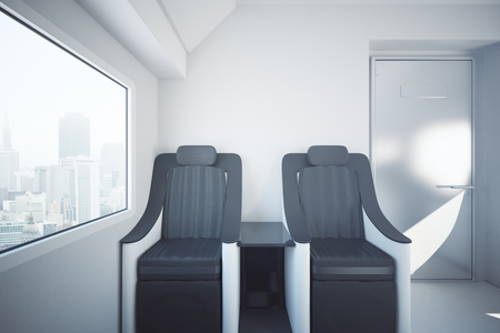 Front view of luxury train seats next to window with city view. Travel concept. 3D Rendering