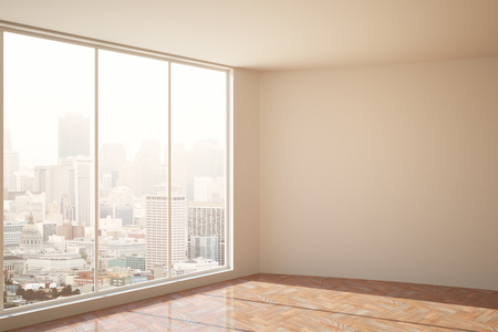 copyspace: Clean concrete interior with blank wall, city view and daylight. Mock up, 3D Rendering. Filter Stock Photo