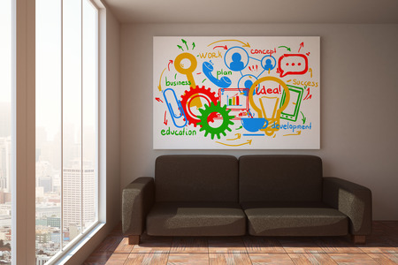 idea comfortable: Front view of couch in room with city view, sunlight and business sketch on poster. Communication concept. 3D Rendering Stock Photo