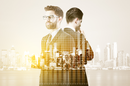 Thoughful businessmen using smartphone on abstract city background with forex chart. Finance concept. Double exposure