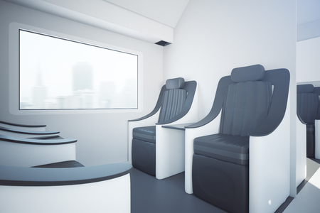Side view of modern train seats next to window with city view. Travel concept. 3D Rendering