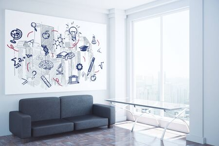 white background: Side view of interior with couch, small glass table, education sketch on wall and city view. Knowledge concept, 3D Rendering