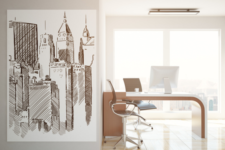 office furniture: Side view of office interior with workplace, city view and buildings sketch on poster. Architecture concept. 3D Rendering