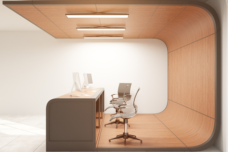 office furniture: Side view of wooden reception desk in concrete interior with blank wall. Mock up, 3D Rendering