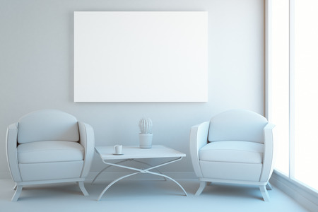 communication: White interior with two armchairs, coffee table, city view and blank poster. Mock up, 3D Rendering