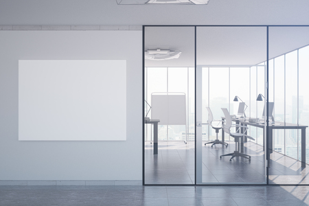 modern office interior: Modern office interior with equipment and blank poster. Mock up, 3D Rendering