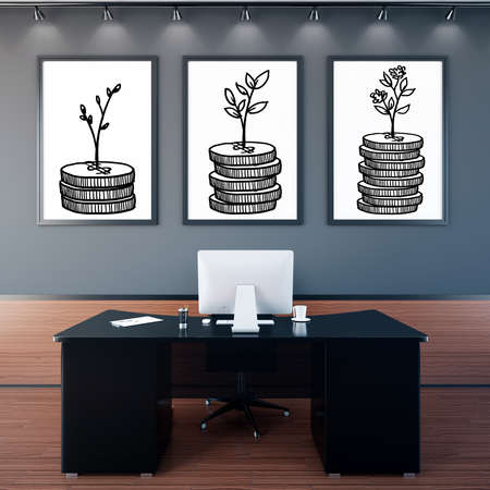 financial growth: Office interior with creative growing coins in frames. Financial growth concept. 3D Rendering Stock Photo